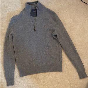 Ralph Lauren Wool Gray Quarter Zip Sweater